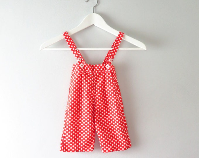 Vintage Baby Red Polka Dot Overalls Mod 1960s - 0 to 3 mos Deadstock