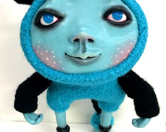 My Mousy Blue Creature Art Doll