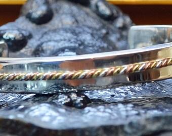 Sterling Silver, Brass & Copper Cuff bracelet.