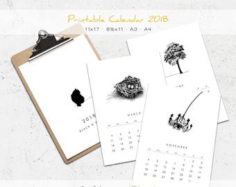 Black & White Wall Calendar 2018 Monthly Printable Calendar, Minimalist Art, Tabloid 11x17 Letter A3 A4, 12 Months, Office Calendar Download