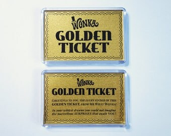 Golden Ticket fridge magnets | Willy Wonka Golden Ticket magnets | stocking filler | stocking stuffer
