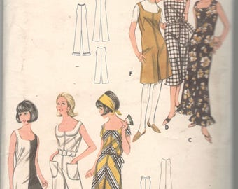 Butterick  3552 1960s Misses Zip Front Sleeveless Jumpsuit Pattern Day Evening Pantdress Womens Vintage Sewing Pattern Size 10 Bust 31