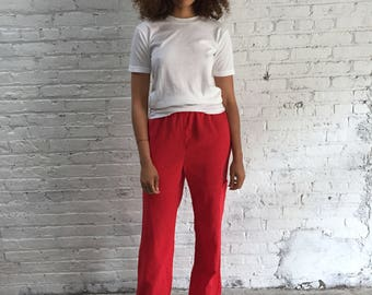 vintage red pants / French gauzy cotton trousers / relaxed fit lounge pants