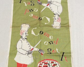 Vintage Towel Come & Get It BBQ Chef Works the Grill