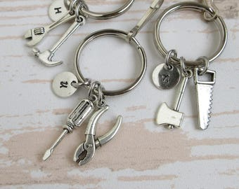 Miniature Tools Keychains, Personalized Gift For Dad Grandpa Husband, Initial Charm, Pliers Screwdriver Wrench Hammer Saw Axe