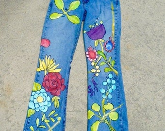Women's Hand Painted Denim Blue Jeans Size Ten Low Rise Bootcut Vintage Jeans Hand Fringed Free Shipping