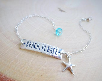 Beach Please bar bracelet, sterling silver, hand stamped, starfish charm bracelet, Adjustable, ocean, tropical, island, traveler, wanderlust