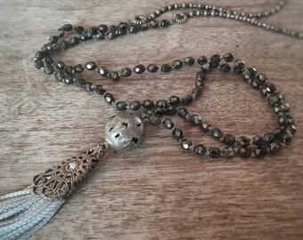 Tassel necklace. Beaded necklace. Long necklace. Boho necklace. Boho jewelry.