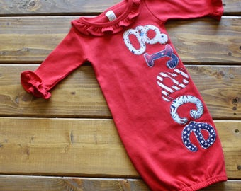Personalized Newborn Gown Girl, Hospital Going Home Outfit, Baby Girl Gift, 4th of July Baby, Military Family, USA Pride, Stars and Stripes