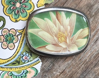 lotus flower image belt buckle repurposed vintage book cover flowers pewter buckle vintage style green eco fashion