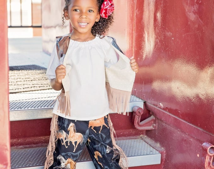 Cowgirl Outfit - Toddler Cowgirl Costume - Girls Western Outfit - Barnyard Birthday - Fringed Pants - Baby Cowgirl Outfit - 6 mos to 6 years