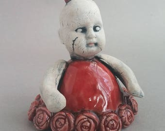 Jezebel was the Devil, Red Devil Baby, figurine, small sculpture