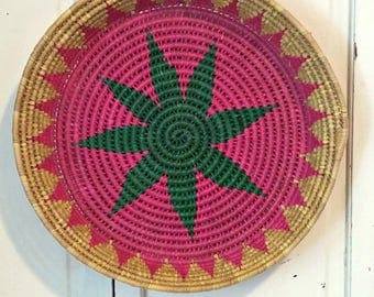 Vintage Woven Basket in Pink and Green