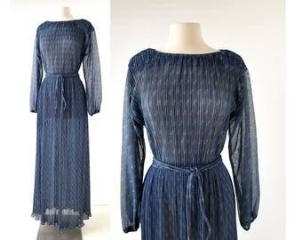 Vintage 70s Dress | Hal Ferman Dress | Metallic Maxi Dress | L XL