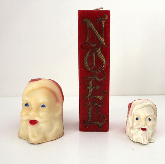 2 Santa Face and Noel Vintage Gurley Candles, Christmas Decor
