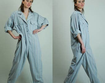 American Made Coveralls Vintage 50s Light Blue Ticking Stripe Distressed Utilitarian Androgynous Work Wear Coveralls Jumpsuit (l xl)