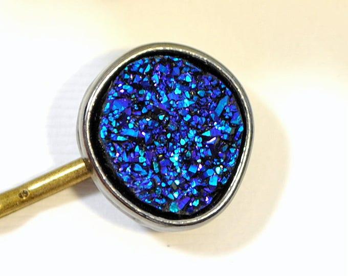 SALE - Druzy Hair Pin Bobby Pin Druzy Bobbies Blue Purple Hair Clip Handmade Hair Accessories