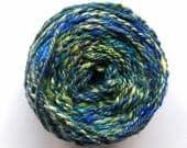 Hand Dyed And Hand Spun Yarn Merino, Silk, Gold Stellina Yarn