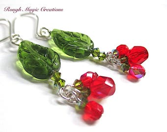 Christmas Jewelry, Holiday Earrings, Green Leaves Red Berry Cluster Drops, Silver Earrings, Holly & Ivy, Woodland Winter Gift for Woman E192