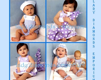 Simplicity 1378 Baby Boys & Girls Romper Sundress Panties Hat Sandals Stuffed Toy Doll Clothes sz XS to L (1-18 mo) Sewing Pattern Uncut FF