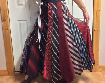 Striped Long Silk Skirt/Upcycled Clothes/Recycled Mens Neckties/Repurposed Clothing/Red Black Silver/Adjusts Womens Size Medium Large Tall