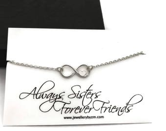 Sisters Bracelet, Sterling Silver Infinity Heart Bracelet, Gift for sister, Sister jewelry, Sterling silver, Infinity heart, Infinity Love