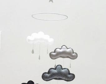 """Star and moon Nursery cloud mobile """"SOKO""""  by The Butter Flying-White,grey, black nursery"""