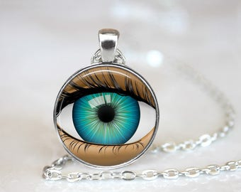 """Eye Am Watching You Changeable 1"""" Magnetic Pendant Necklace with Organza Bag"""