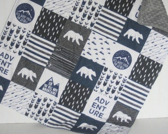 bear baby quilt- baby boy quilt -minky baby quilt- navy baby quilt- woodland baby bedding- baby boy bedding- arrow baby quilt