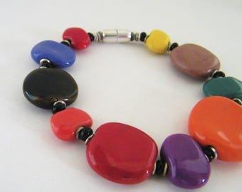 Sterling Magnetic Kazuri bracelet -  Multi - Opaque - Fair Trade certified - Flat Beads -
