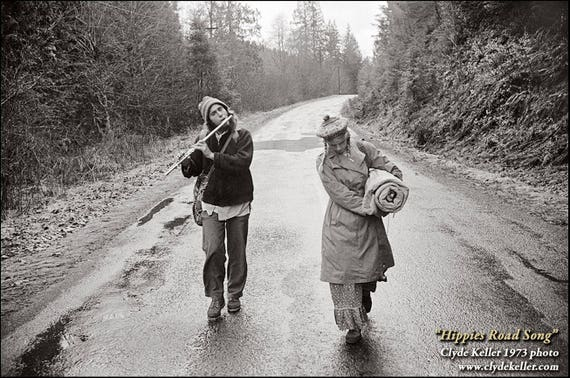 HIPPIES ROAD SONG, Oregon Coast, flute music, Clyde Keller photo, 1973