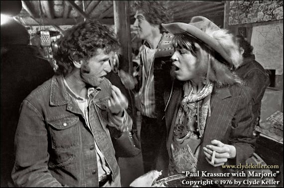 PAUL KRASSNER with MARJORIE, Ken Kesey bash, Clyde Keller photo, 1976