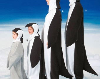 PENGUIN FAMILY Costume Sewing Pattern - Adult & Child Penguins Halloween Costumes Uncut