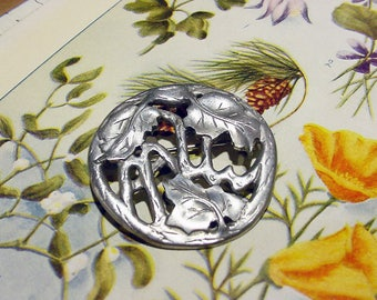 Vingate Studio Pin Brooch Pendant Combo Leaf and Vine pattern Pewter 16g22