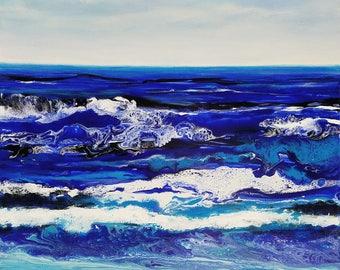 "Abstract Coastal Original Painting, by Robyn Joy Art. 20""x 20"" fluid seaside painting."