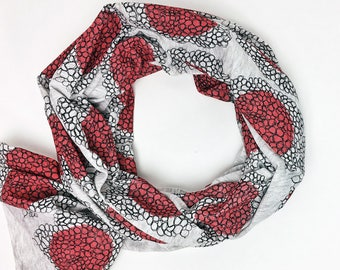 Bundle Up Red Cluster Scarf- Hand Printed