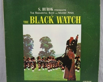 """The Black Watch S. Hurok Regimental Band and Massed Pipers Record Vintage 12"""" Vinyl LP Album Bagpipes Scotland Scottish Celtic Music"""