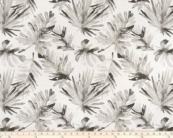 Palm Leaves Curtains, Pair of Rod Pocket Panels,  Premier Prints Frond Sable Flax ~ Gray on Oatmeal Linen -  Choose Size
