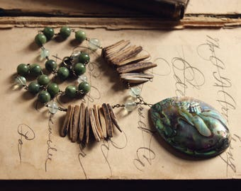 Tide Pools. Bohemian Beach Rustic Abalone, Coconut Shell, Flourite & Jasper Statement Necklace.
