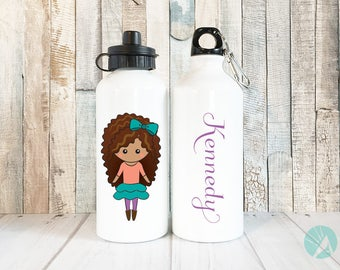Personalized Water Bottle Girls, Custom Portrait Illustration, Back to School Gifts