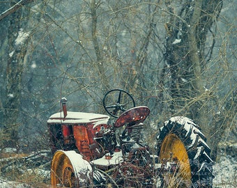 Farmhouse Decor, Rustic Wall Art, Farm Photography, Fine Art Print, Rural Photo, Tractor Photograph, Picture of Rust, New England, Red, Grey
