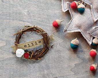 Personalized Christmas Ornament - Baby First Christmas - Rustic Christmas Wreath - Personalized Christmas Gift - Gift Under 15 - Mini Wreath