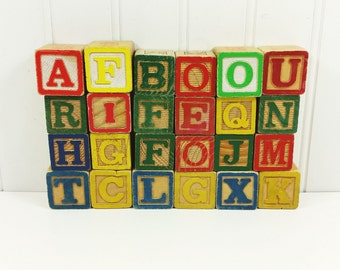 Wood Alphabet Building Blocks, 24 Vintage Wooden Blocks with Pictures in Bright Colors