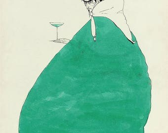 Mephisto ~ Harry Clarke illustration ~ Glass of absinthe ~ Faust by Goethe ~ eerie ~ Goth