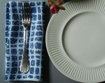 Blue Hand Dyed Linen Napkins, Blue Hemp Napkins, Blue Linen Napkins, Blue Cloth Napkins, Dinner Napkins Nimes