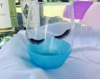 Flirty stemless wine glass,  glitter wine glass, eyelashes wine glass