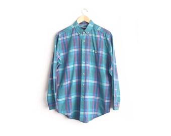 SALE // Size M // TEAL PLAID Oxford // Long Sleeve Button-Up Shirt - Teal & Purple - Vintage '80s.