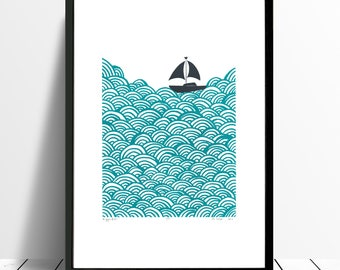 Bigger Boat Limited Edition Screen Print (Marine Green) A3 size