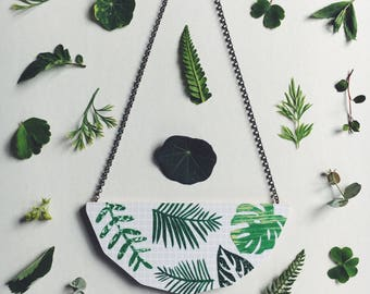 Foliage Necklace in Grey - monstera leaf, palm leaf, fern leaf