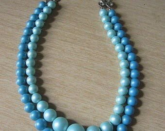 Vintage 50s Seafoam Blue and Green Double Strand Graduated Bead Necklace